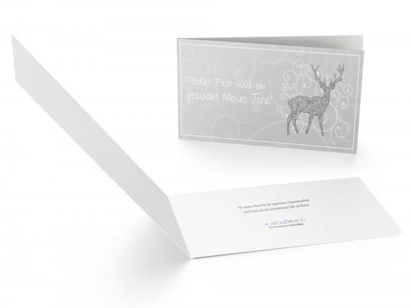 Weihnachtskarte Hirsch Ornament