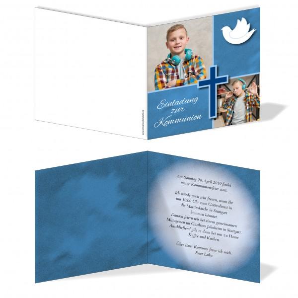 Einladung Einladungskarte Kommunion Bilder Quadrat Blau