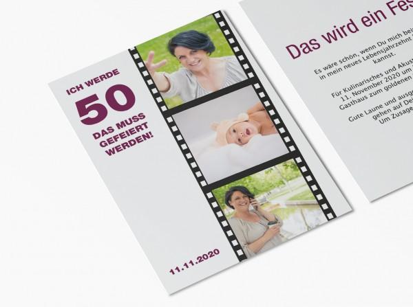 Einladungskarten 50. Geburtstag Filmstreifen