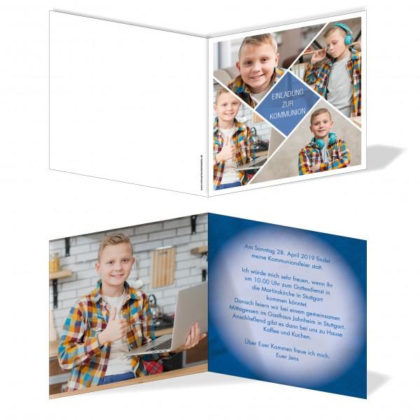 Einladung Einladungskarte Kommunion Bilder Raute
