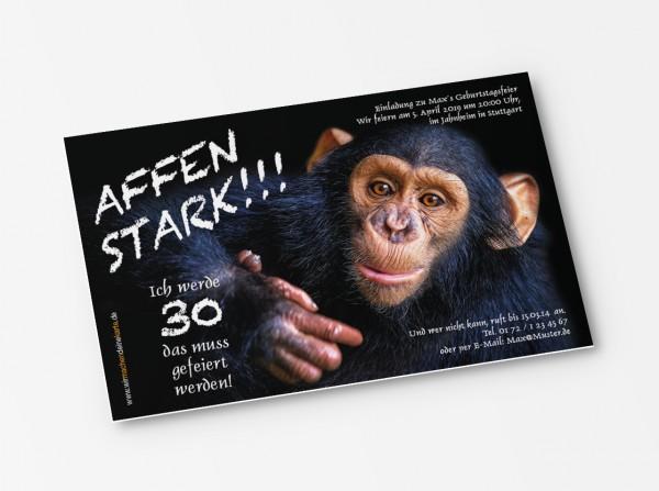 Einladung Einladungskarte lustig Geburtstag Schimpanse