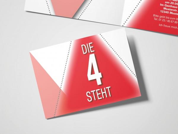 Geburtstag Einladungskarten - 40. Geburtstag Die 4 steht Rot