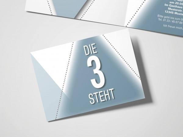 Geburtstag Einladungskarten - 30. Geburtstag Die 3 steht grau