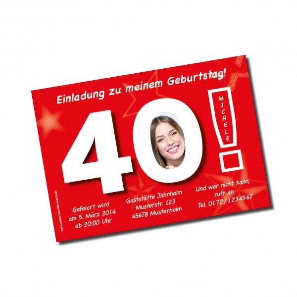 Geburtstag Einladungskarten - 40. Geburtstag Große 40 rot