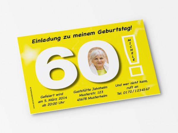 Geburtstag Einladungskarten - 60. Geburtstag Große 60 Gelb