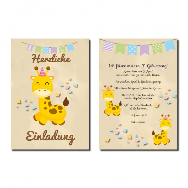 Einladung Einladungskarte Kindergeburtstag Giraffe