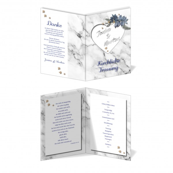 Kirchenprogramm Hochzeit - Marmor-Optik
