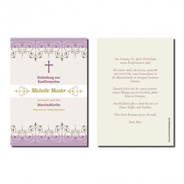 Einladung Einladungskarte Konfirmation Violett