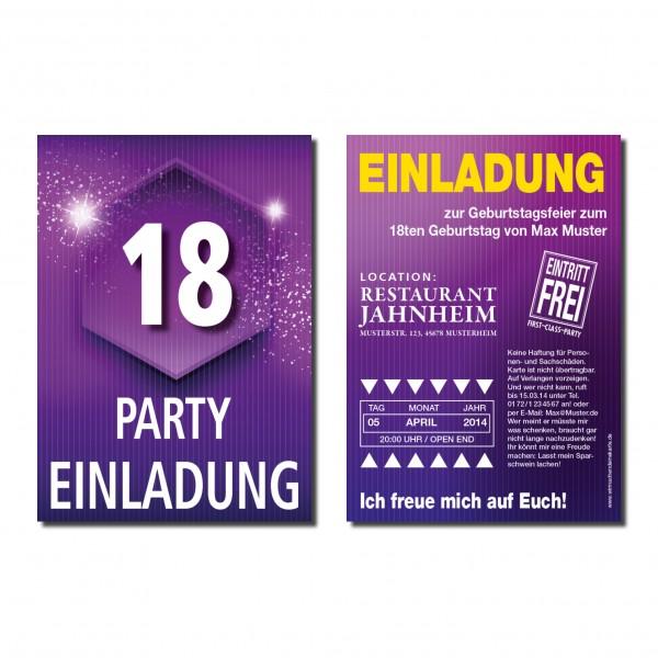 Einladung Einladungskarte 18. Geburtstag Glitter