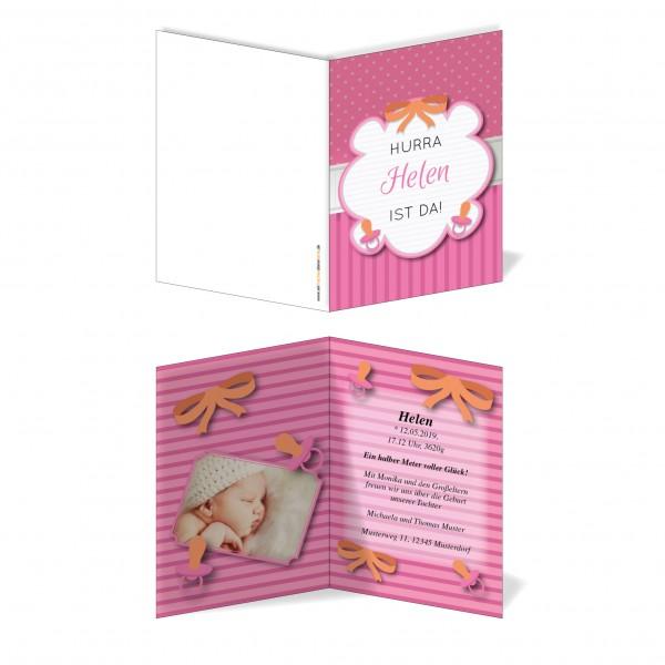 Geburtskarten Babykarten individuell - Mädchen Schnuller