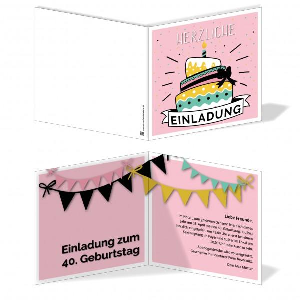 Einladung Einladungskarte Geburtstag Kuchenspaß