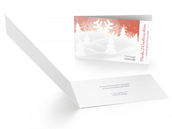 Weihnachtskarte Schneelandschaft Rot