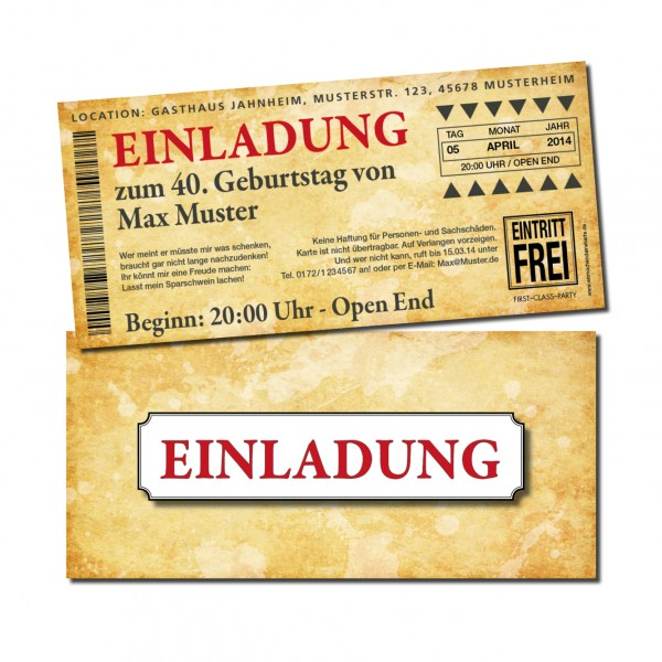 Eintrittskarte Einladung Einladungskarte lustig Geburtstag 2