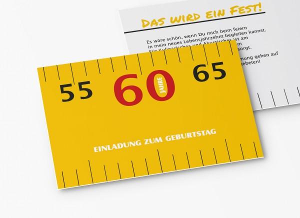 Einladungskarten 60. Geburtstag Meterstab