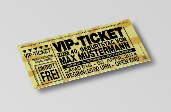 Einladung Einladungskarte lustig Geburtstag VIP-Ticket gold