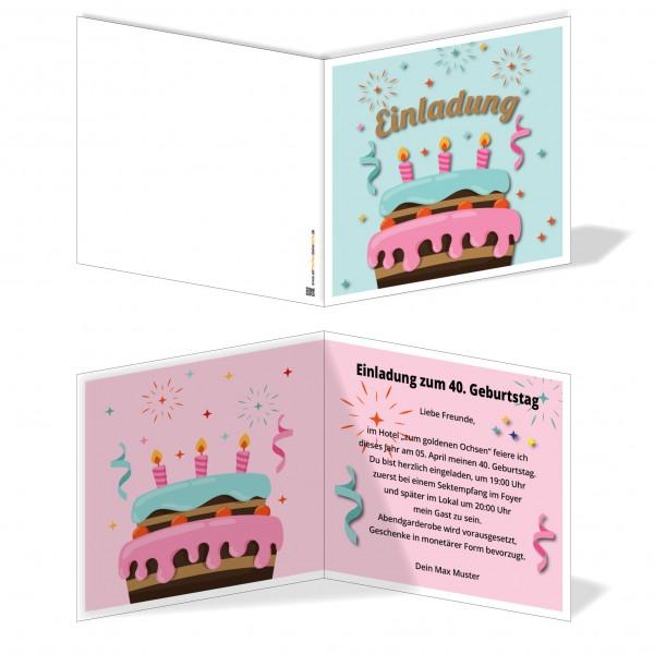 Einladung Einladungskarte Geburtstag Tortenspaß