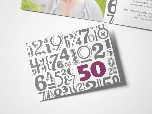 Einladungskarten 50. Geburtstag Zahlenwolke