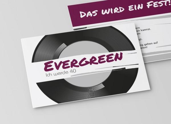 Einladungskarte zum 40. Geburtstag Schallplatte in Lila