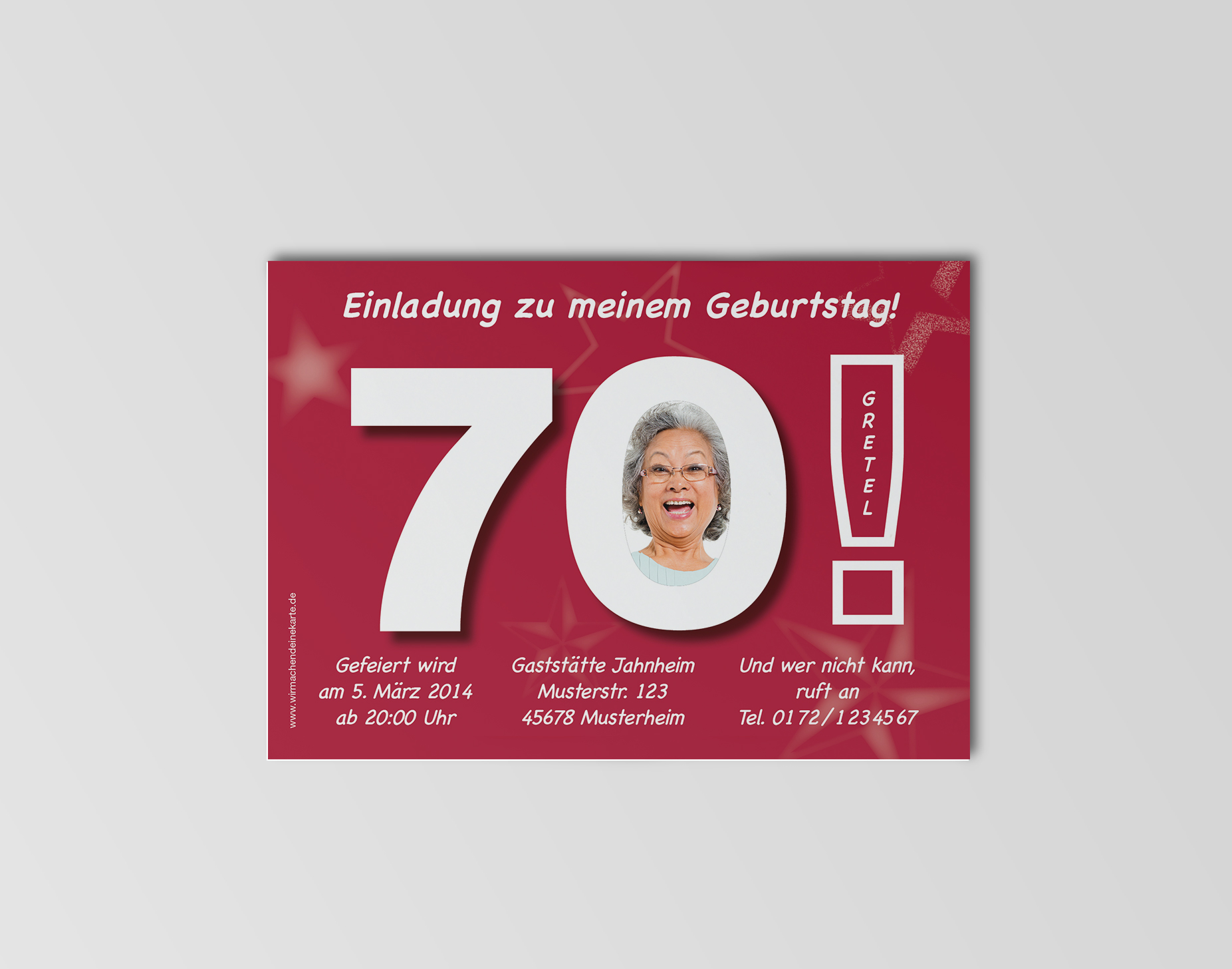 einladungskarten geburtstag 70 - herzlichen glückwunsch an