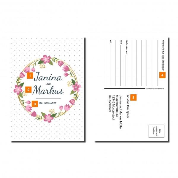 Ballonkarten Luftballon Karten Hochzeit - Blumen Punkte