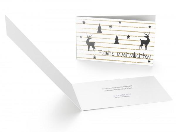 Weihnachtskarte Hirsch Gold