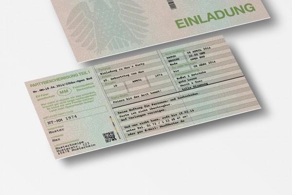 Einladung Einladungskarte lustig Geburtstag Fahrzeugschein