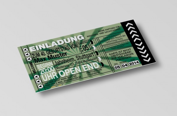 Einladung Einladungskarte lustig Geburtstag-Ticket Grün