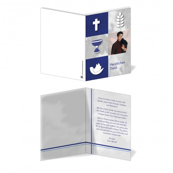 Dankeskarte Blaue Symbole