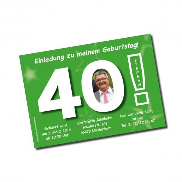 Geburtstag Einladungskarten - 40. Geburtstag Große 40 grün