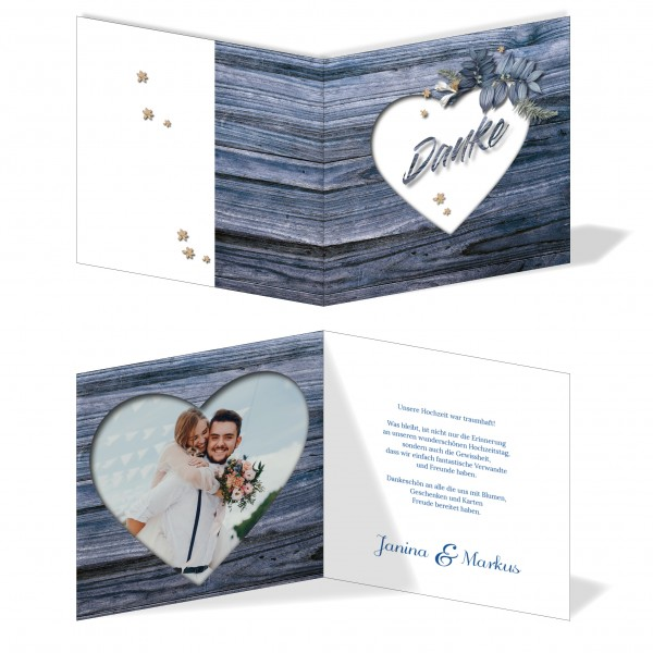 Dankeskarten Hochzeit Hochzeitskarten mit Druck - Holz Herz Blau