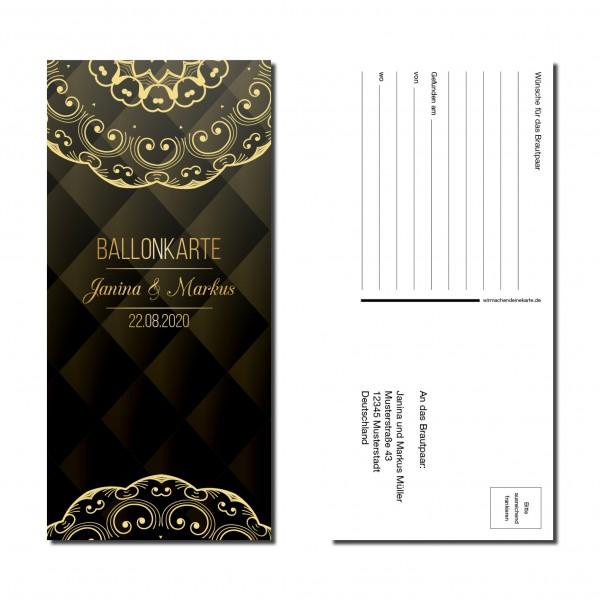Ballonkarten Luftballon Karten Hochzeit - Black & Gold