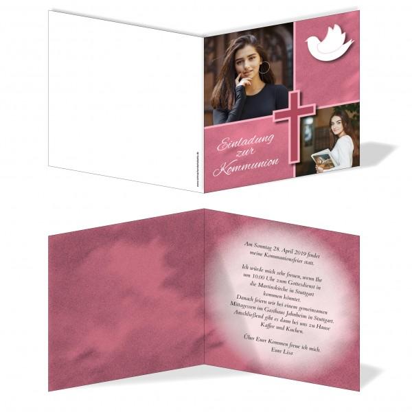 Einladung Einladungskarte Kommunion Bilder Quadrat Rot