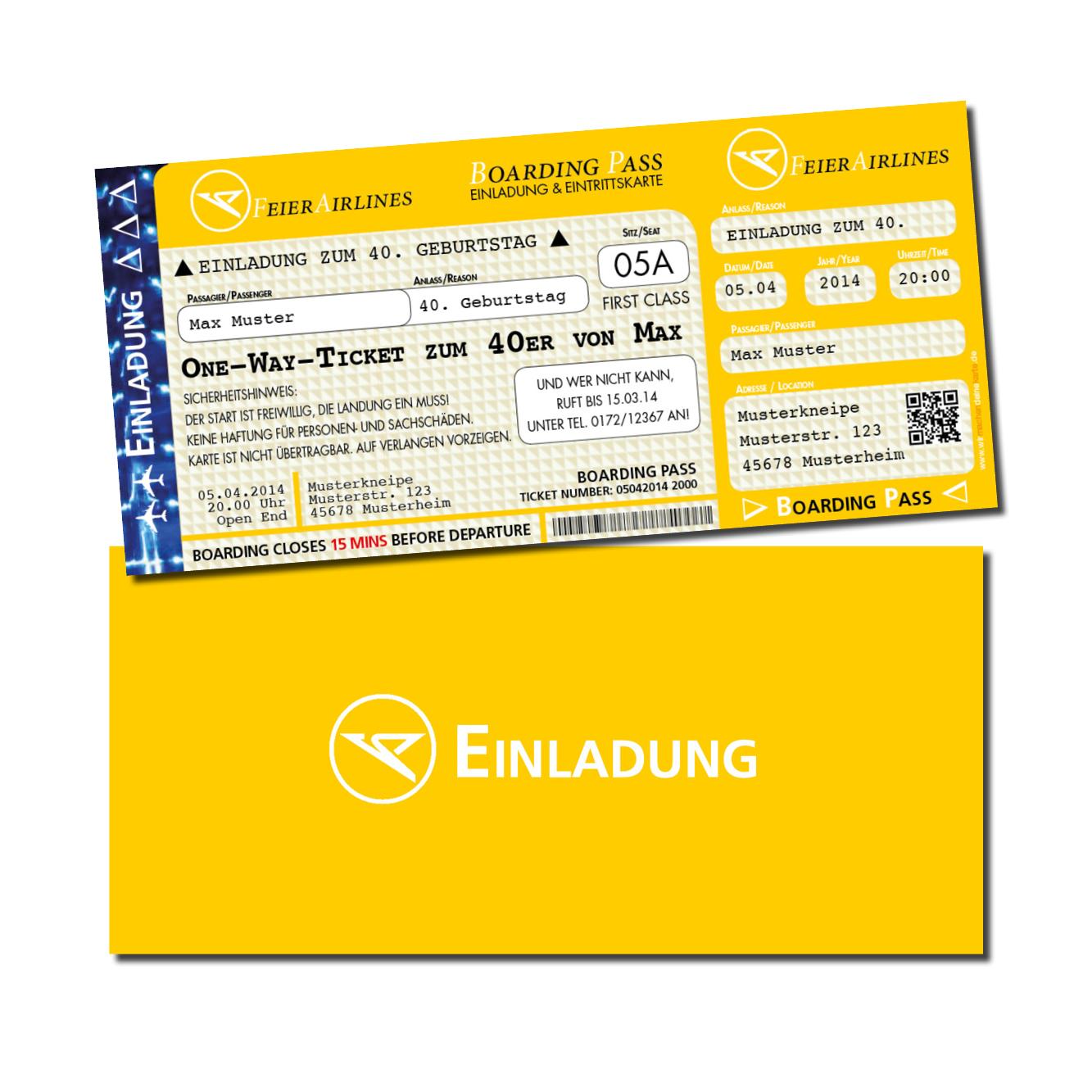 Gelbe Karte Lustig.Einladung Einladungskarte Lustig Geburtstag Feierairlines Gelb