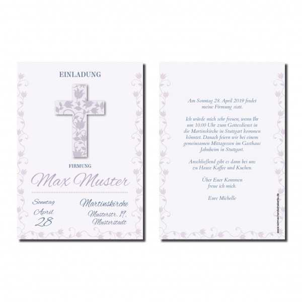 Einladung Einladungskarte Firmung Blumen Kreuz