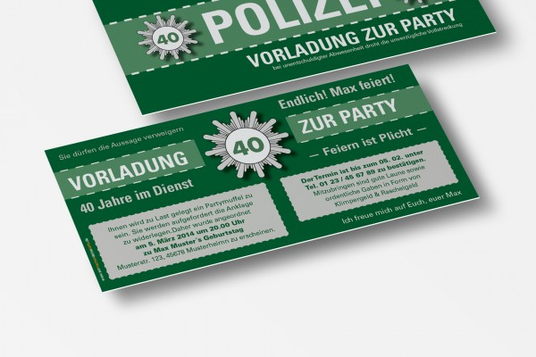 Einladungskarte lustig Geburtstag Vorladung Polizei DIN Lang 2-seitig grün