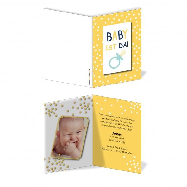 Geburtskarten Babykarten individuell - Junge Nuckel