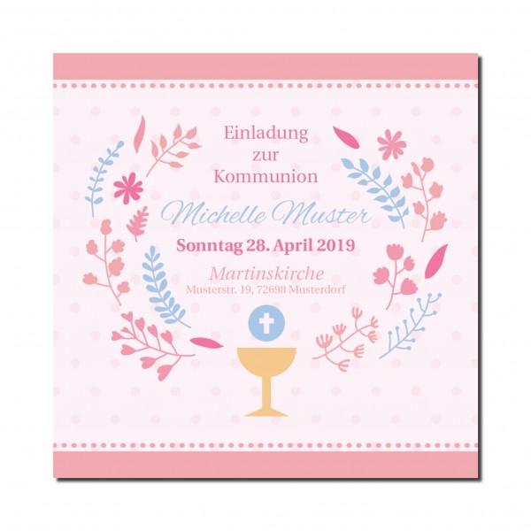 Einladung Einladungskarte Kommunion Rosa