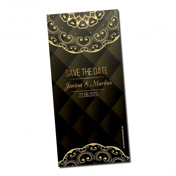 Save the Date Karten Einladung Hochzeit - Black & Gold