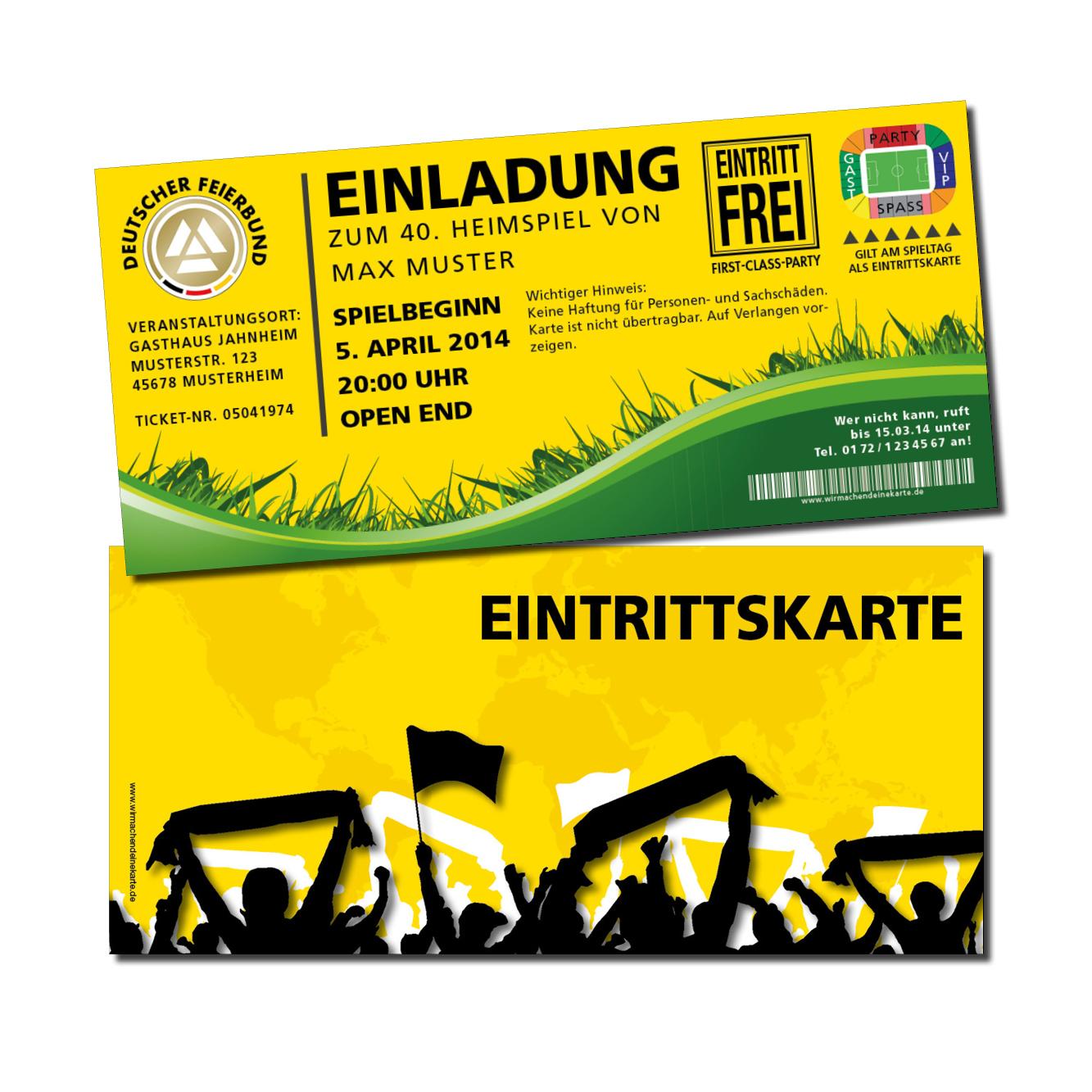 Gelbe Karte Lustig.Einladung Einladungskarte Lustig Geburtstag Fußball Stadionticket Gelb Individue
