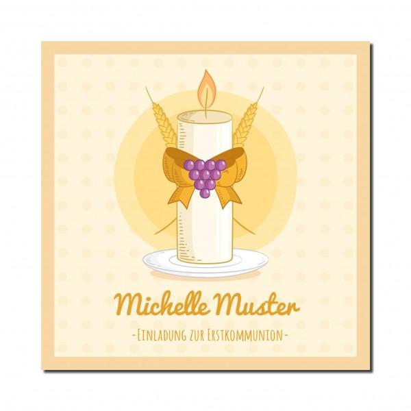 Einladung Einladungskarte Kommunion Kerze