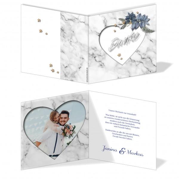Dankeskarten Hochzeit - Marmor-Optik