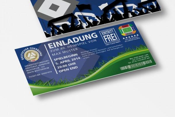 Einladung Einladungskarte lustig Geburtstag Fußball-Stadionticket blau