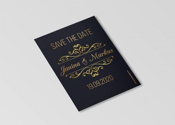 Save the Date Karten Einladung Hochzeit - Goldener Moment