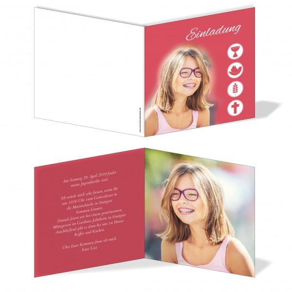 Einladung Einladungskarte Jugendweihe Bild Rot