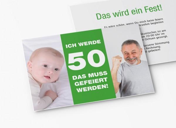 Einladungskarten 50. Geburtstag vom Baby bis Heute