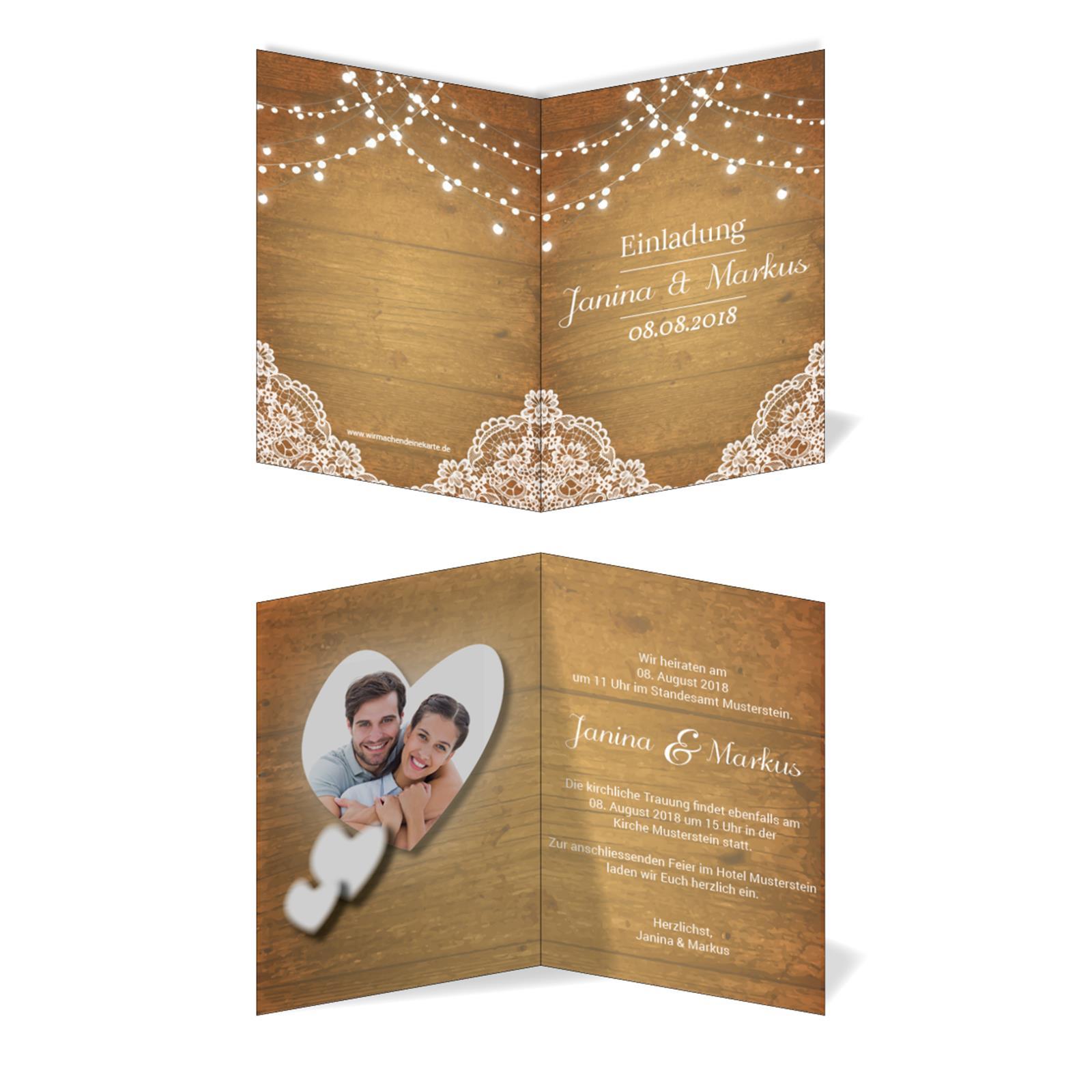 Einladungskarten Hochzeit Hochzeitskarten Mit Druck Vintage Holz