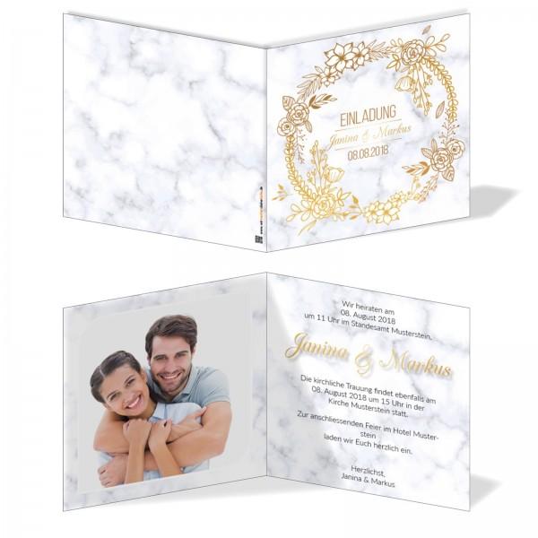 Einladungskarten Hochzeit Hochzeitskarten mit Druck - Marmor&Gold