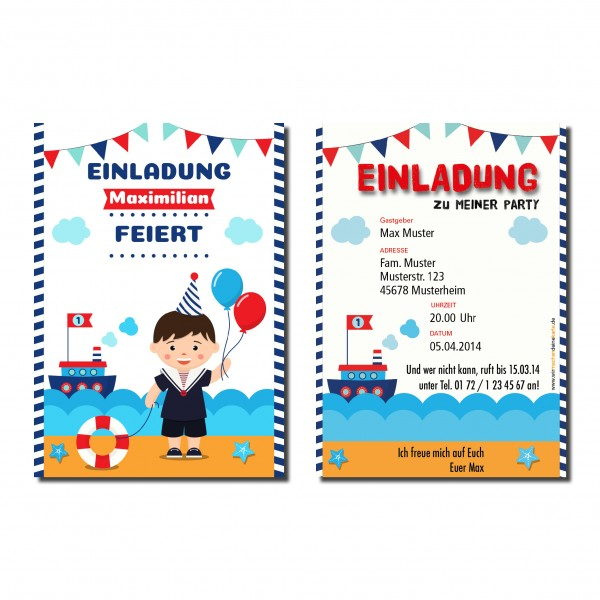Einladung Einladungskarte Kindergeburtstag Matrose