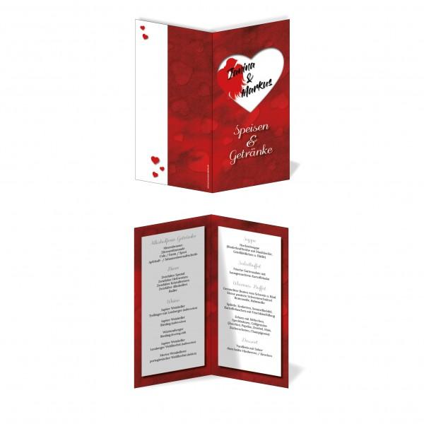 Menükarten Hochzeit - Rotes Herz