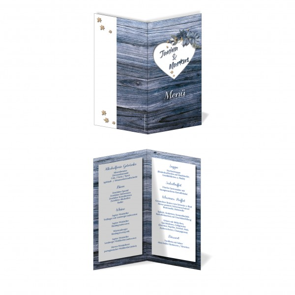 Menükarten Hochzeit - Rustikale Holz-Optik blau